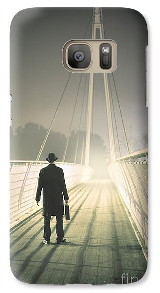 Galaxy Case featuring the photograph Man With Case On Bridge by Lee Avison
