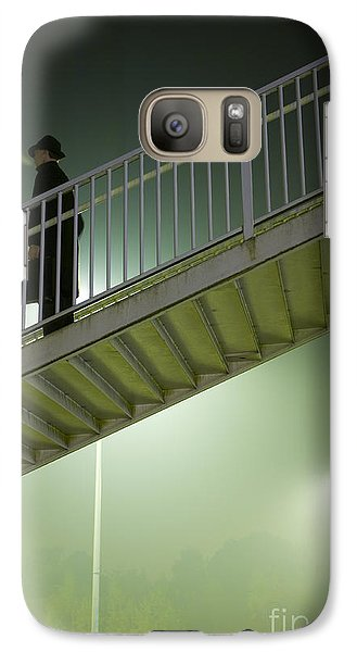 Galaxy Case featuring the photograph Man With Case On Steps Nighttime by Lee Avison