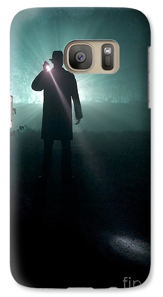 Galaxy Case featuring the photograph Man With Flashlight  by Lee Avison