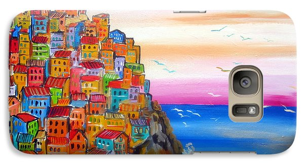 Galaxy Case featuring the painting Manarola 5 Terre by Roberto Gagliardi