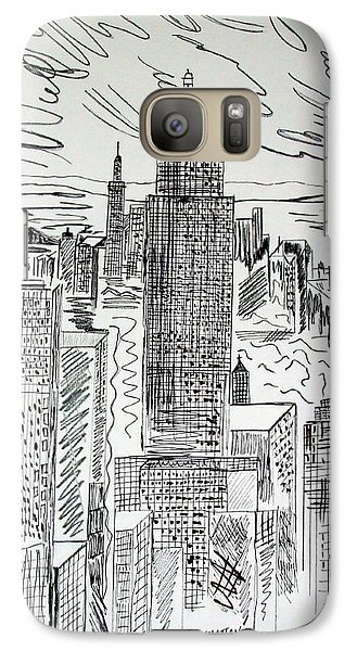 Galaxy Case featuring the drawing Manhattan by Janice Rae Pariza