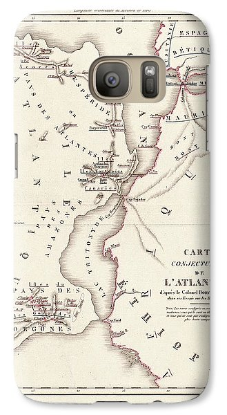 Map Of Atlantis Galaxy S7 Case by Library Of Congress, Geography And Map Division