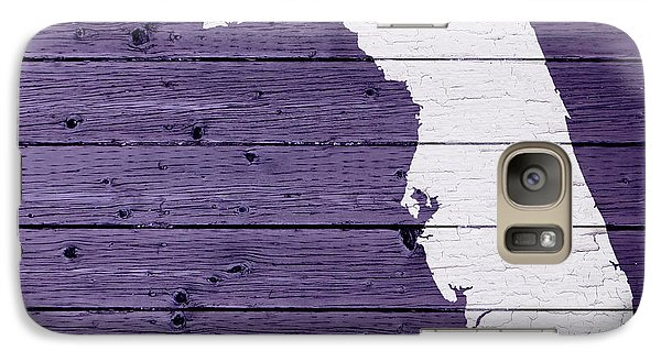 Map Of Florida State Outline White Distressed Paint On Reclaimed Wood Planks Galaxy S7 Case by Design Turnpike