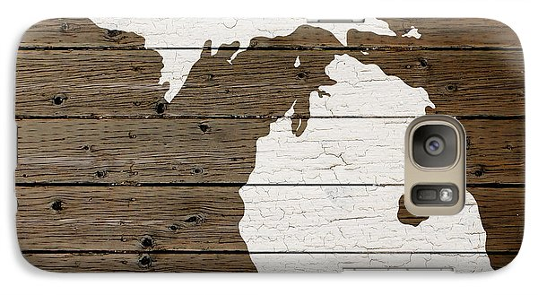 Michigan State Galaxy S7 Case - Map Of Michigan State Outline White Distressed Paint On Reclaimed Wood Planks by Design Turnpike