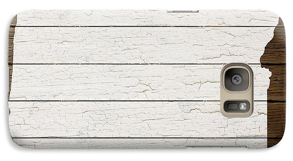 Map Of Oregon State Outline White Distressed Paint On Reclaimed Wood Planks Galaxy S7 Case by Design Turnpike