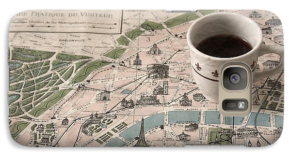 Galaxy Case featuring the photograph Map Of Paris And Demi Tasse by Brooke T Ryan