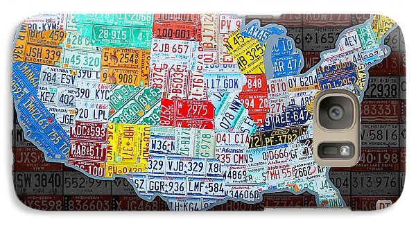 Map Of The United States In Vintage License Plates On American Flag Galaxy S7 Case
