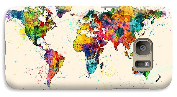 Map Of The World Map Watercolor Galaxy Case by Michael Tompsett
