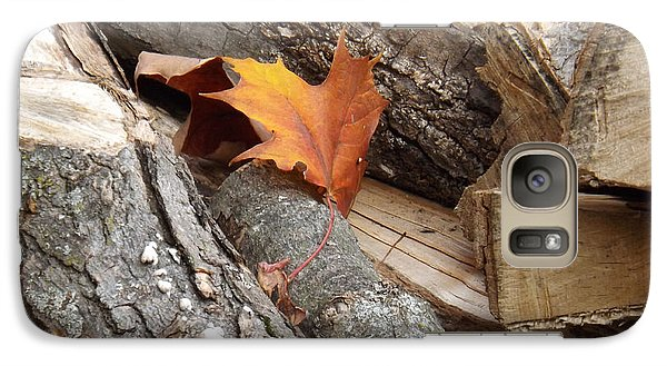 Galaxy Case featuring the photograph Maple Leaf In Wood Pile by Brenda Brown