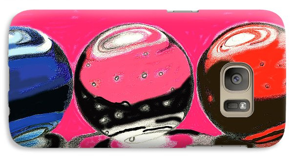 Galaxy Case featuring the drawing Marble Planets by Mary Bedy