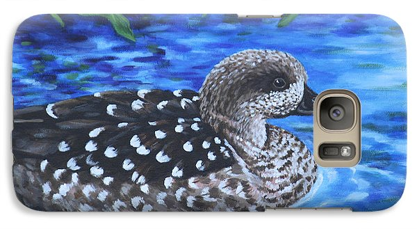 Galaxy Case featuring the painting Marbled Teal Duck On The Water by Penny Birch-Williams