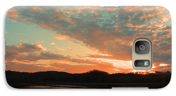 Galaxy Case featuring the photograph March Sunset With Signature by Lorna Rogers Photography