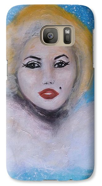 Galaxy Case featuring the painting Marilyn Monroe Out Of The Blue Into The White by Donna Dixon