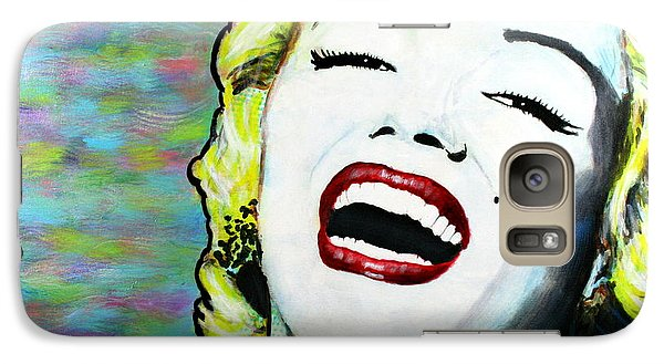 Galaxy Case featuring the painting Marilyn Monroe Portrait Bright Laugh by Bob Baker