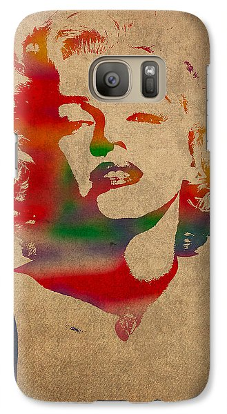 Marilyn Monroe Watercolor Portrait On Worn Distressed Canvas Galaxy S7 Case by Design Turnpike