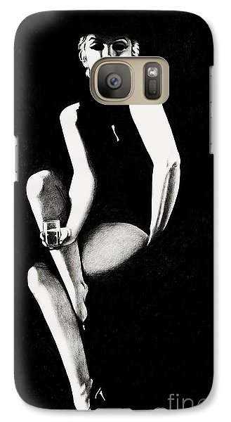 Galaxy Case featuring the drawing Marilyn Relaxing by Joseph Sonday