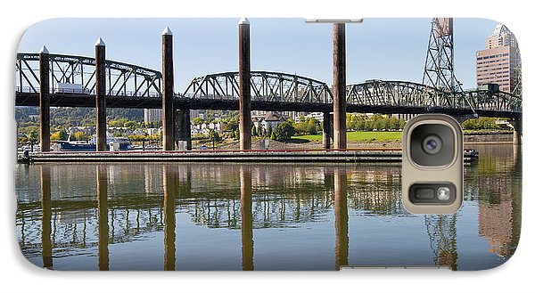 Galaxy Case featuring the photograph Marina By Willamette River In Portland Oregon by JPLDesigns