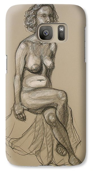 Galaxy Case featuring the drawing Marli - Seated Nude by Donelli  DiMaria