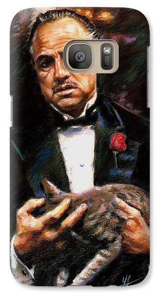 Galaxy Case featuring the drawing Marlon Brando The Godfather by Viola El