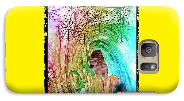 Galaxy Case featuring the digital art Mary In The Field by Ann Calvo
