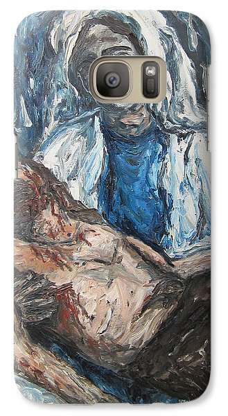 Galaxy Case featuring the painting Mary With Jesus by Cheryl Pettigrew