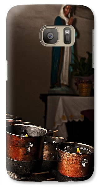 Galaxy Case featuring the photograph Mary's Candles by Andy Crawford