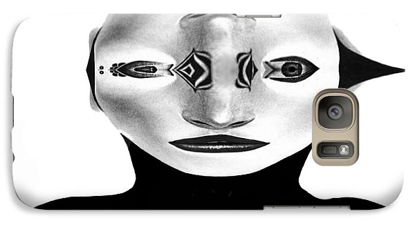 Galaxy Case featuring the painting Mask Black And White by Rafael Salazar