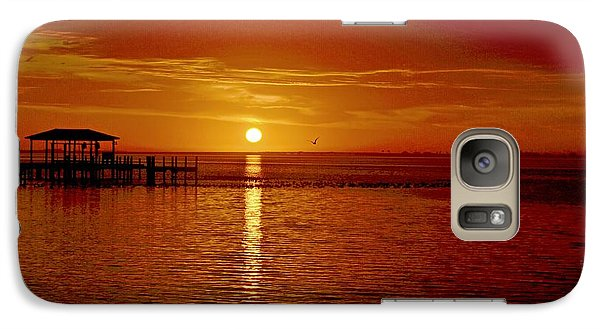 Galaxy Case featuring the photograph Mass Migration Of Birds With Colorful Clouds At Sunrise On Santa Rosa Sound by Jeff at JSJ Photography