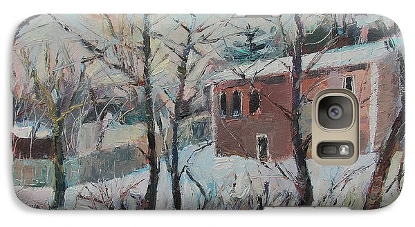 Galaxy Case featuring the painting Massachusetts Snowfall by Linda Novick
