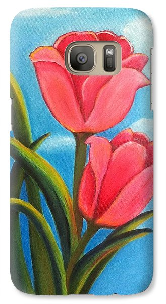 Galaxy Case featuring the painting May Flowers - Pink Tulip Flowers by Shelia Kempf