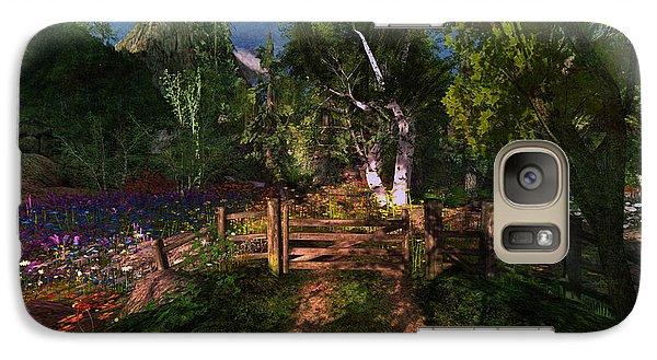 Galaxy Case featuring the digital art Meadow Gate by Kylie Sabra