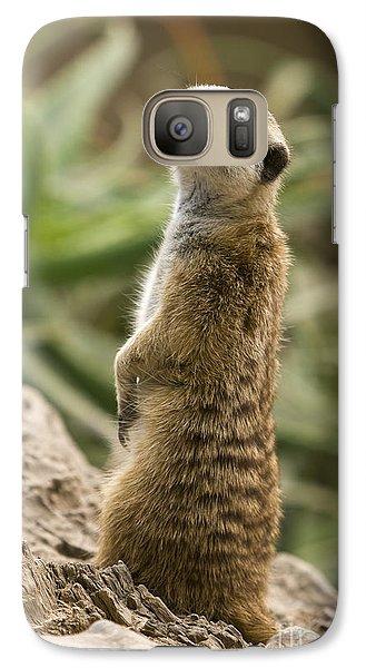 Galaxy Case featuring the photograph Meerkat Mongoose Portrait by David Millenheft