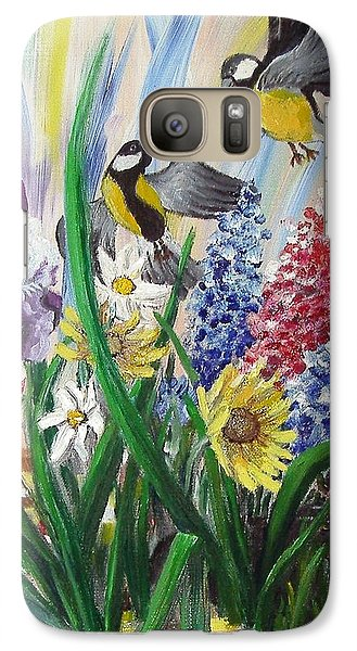 Galaxy Case featuring the painting Meeting In The Garden by Nina Mitkova