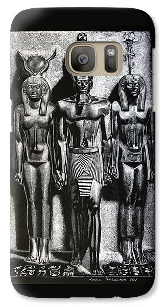 Galaxy Case featuring the painting Menkaure Triad by Leena Pekkalainen