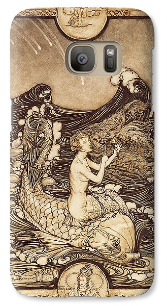 Mermaid And Dolphin From A Midsummer Nights Dream Galaxy Case by Arthur Rackham