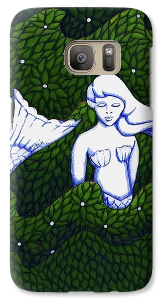 Galaxy Case featuring the mixed media Mermaid At The Garden by Donna Huntriss