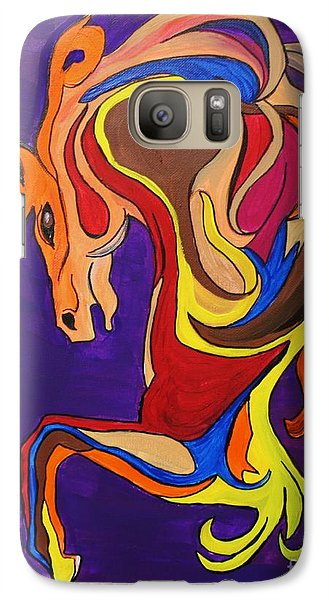 Galaxy Case featuring the painting Merry Go Round Carousel Horse by Janice Rae Pariza