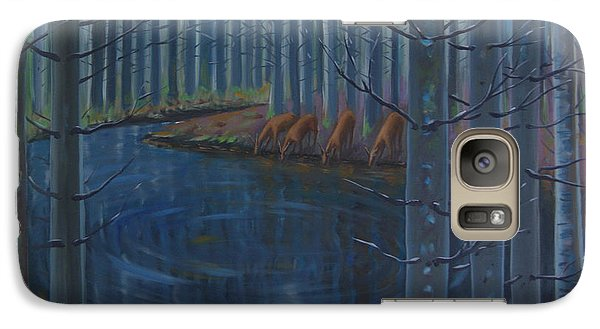 Galaxy Case featuring the painting Message At Night by Tone Aanderaa