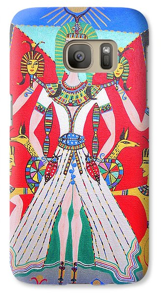 Galaxy Case featuring the painting Metamorphosis Of Melisa Into Nefertiti by Marie Schwarzer