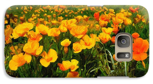 Galaxy Case featuring the digital art Mexican Poppies by Chuck Mountain