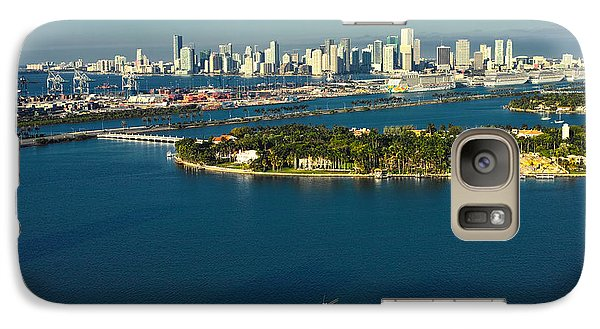 Galaxy Case featuring the photograph Miami City Biscayne Bay Skyline by Gary Dean Mercer Clark