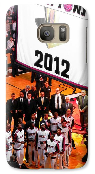 Galaxy Case featuring the photograph Miami Heat Championship Banner by J Anthony
