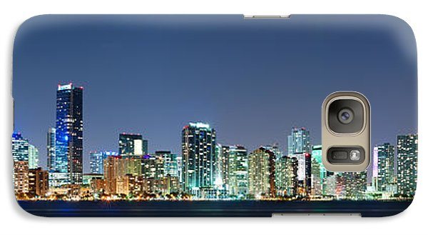 Galaxy Case featuring the photograph Miami Skyline At Night by Carsten Reisinger