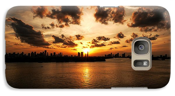 Galaxy Case featuring the photograph Miami Skyline Sunset by Gary Dean Mercer Clark