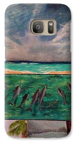 Galaxy Case featuring the painting Delfin by Vanessa Palomino