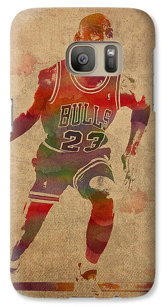 Michael Jordan Chicago Bulls Vintage Basketball Player Watercolor Portrait On Worn Distressed Canvas Galaxy Case by Design Turnpike