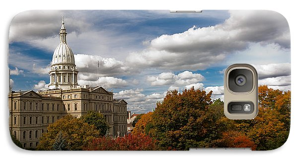 Galaxy Case featuring the photograph Michgan Capitol - Autumn by Larry Carr