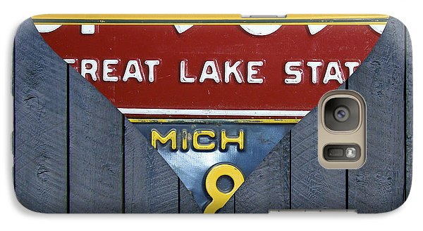 Marquette Galaxy S7 Case - Michigan Love Heart License Plate Art Series On Wood Boards by Design Turnpike