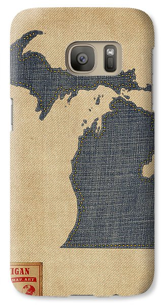 Michigan Map Denim Jeans Style Galaxy Case by Michael Tompsett