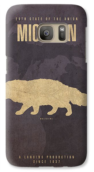 Michigan State Facts Minimalist Movie Poster Art  Galaxy S7 Case by Design Turnpike